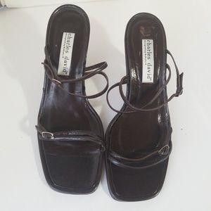 """Vintage Charles heels David strappy 4"""" heels"""